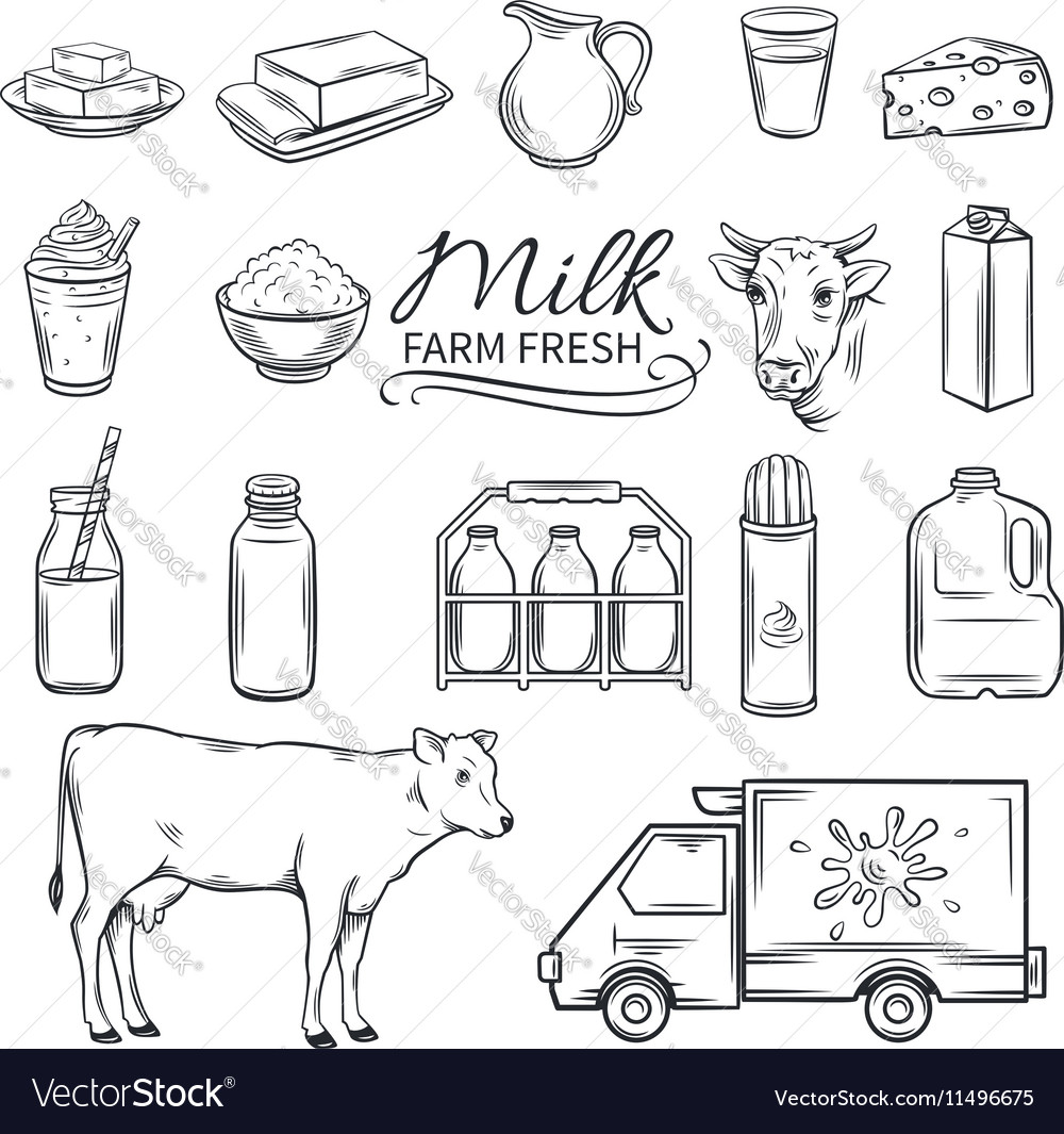 Set hand drawn decorative milk icons vector