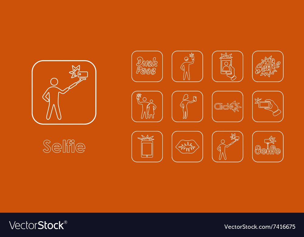 Set of selfie simple icons vector