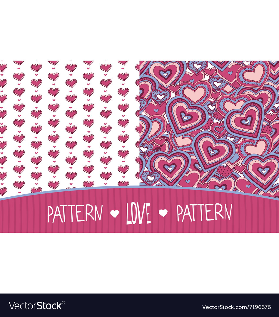 Two love patterns white and pink vector