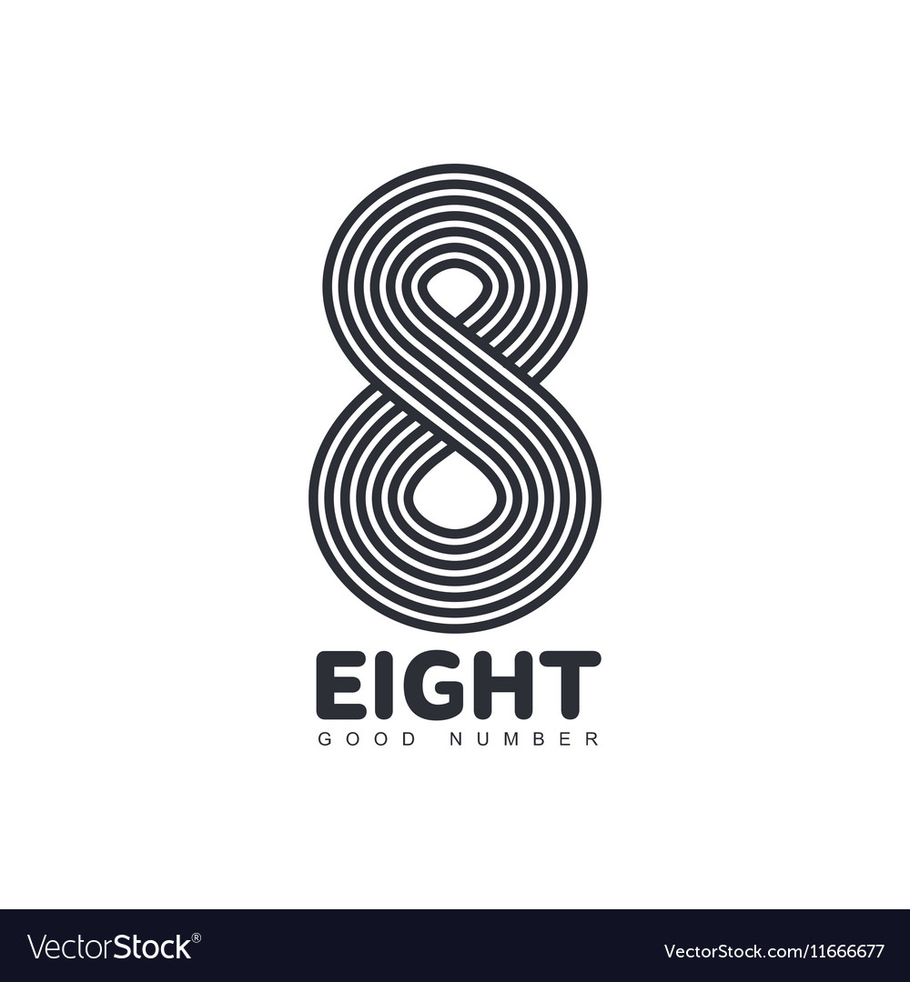 Black and white number eight logo made of vector