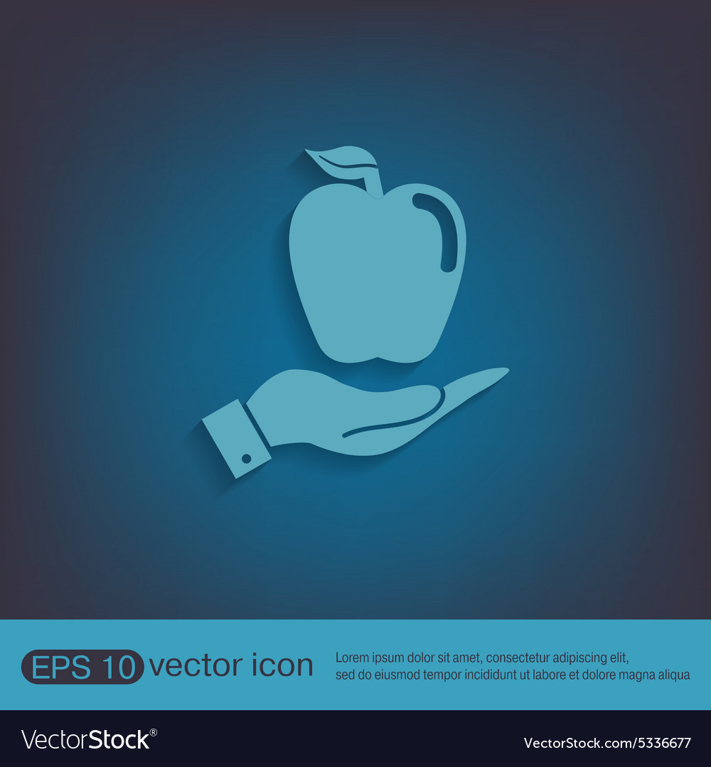 Hand holding apple vector