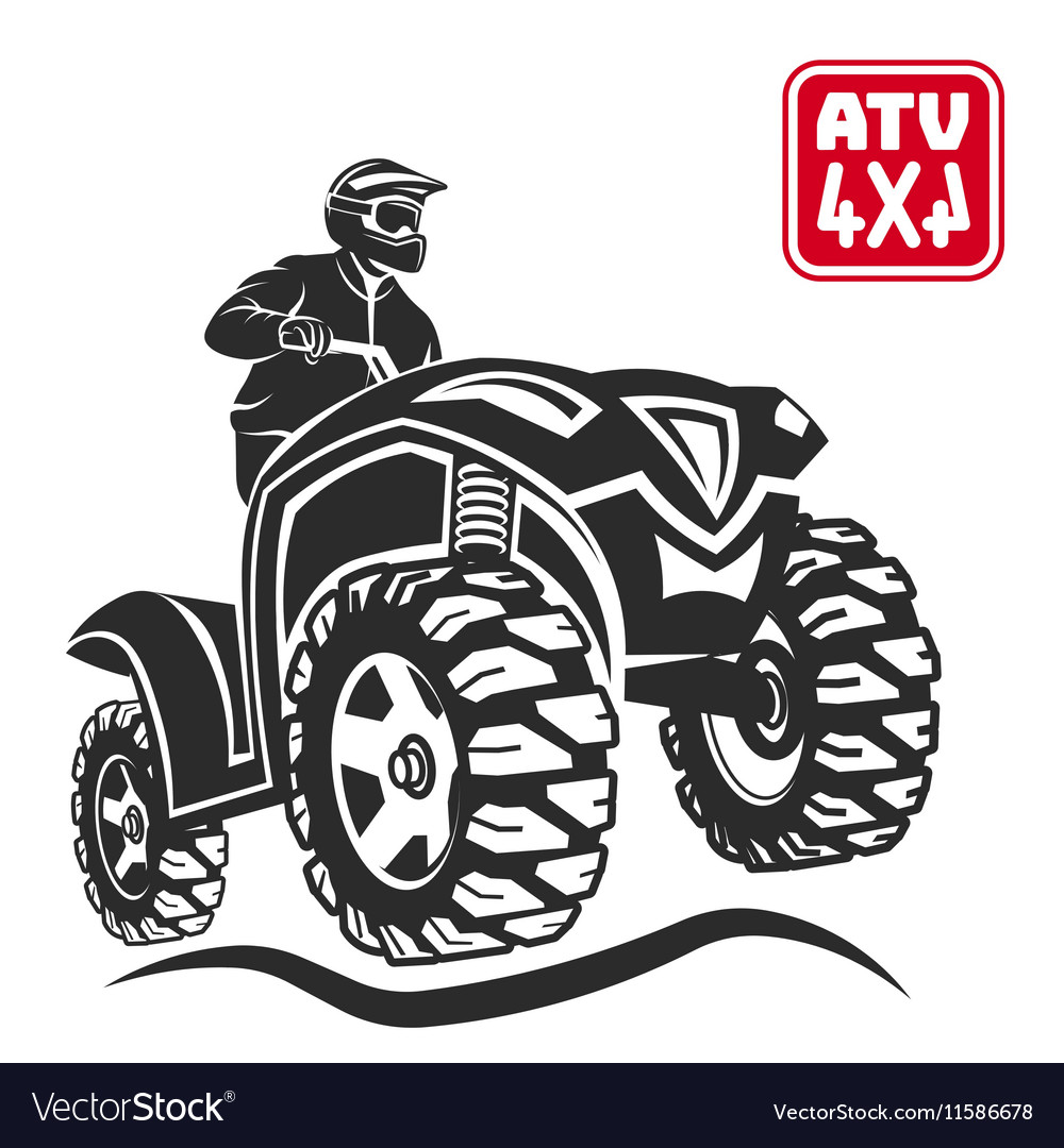Atv allterrain vehicle offroad design elements vector