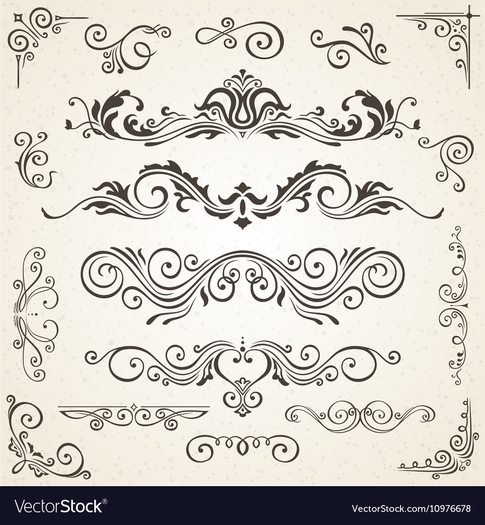Set of swirl elements and corners for vector