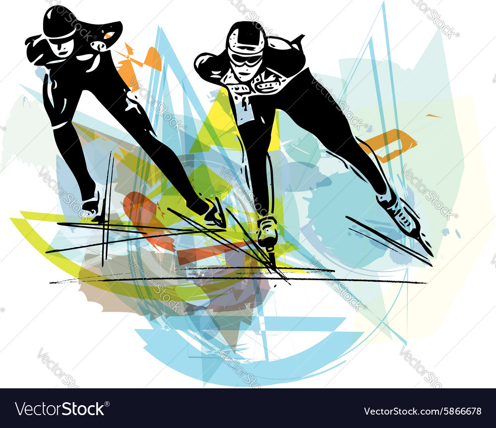 Speed ice skaters at colorful ice rink vector