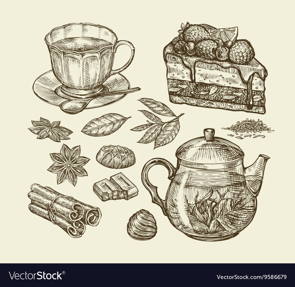 Tea dessert food hand drawn pie pasty piece vector