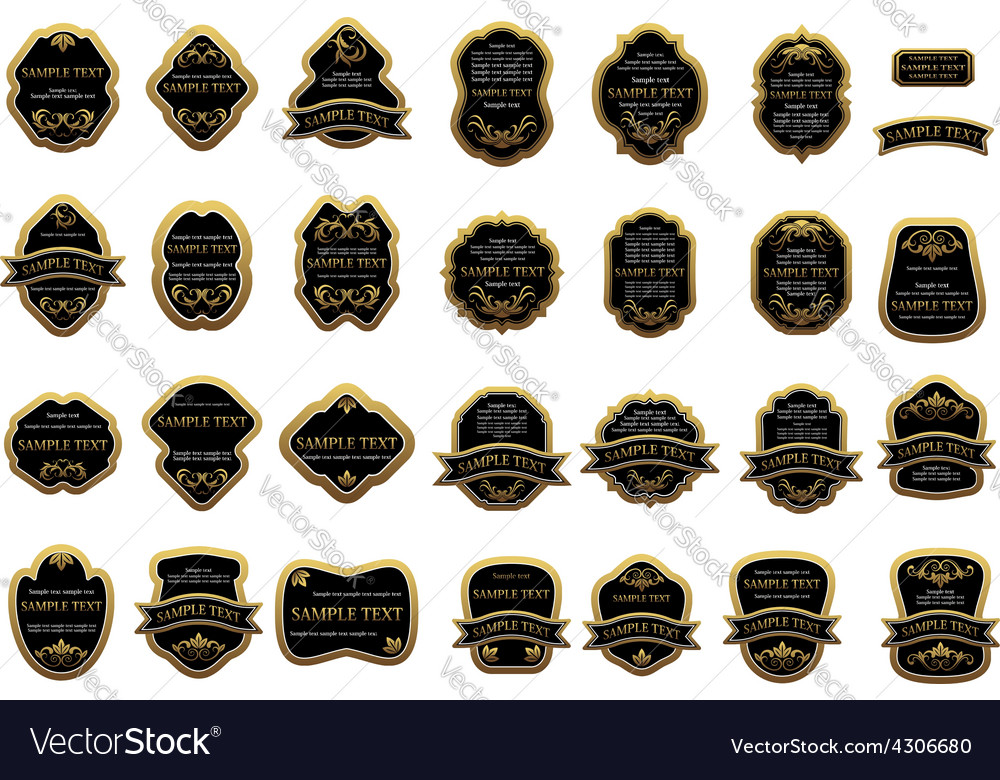 Golden label templates with floral ornament vector