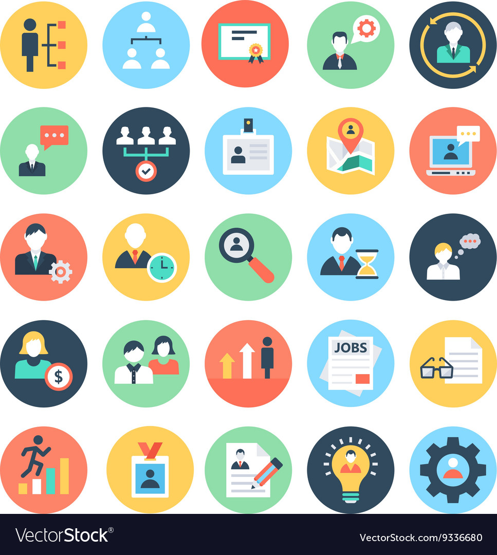 Human resources colored icons 1 vector