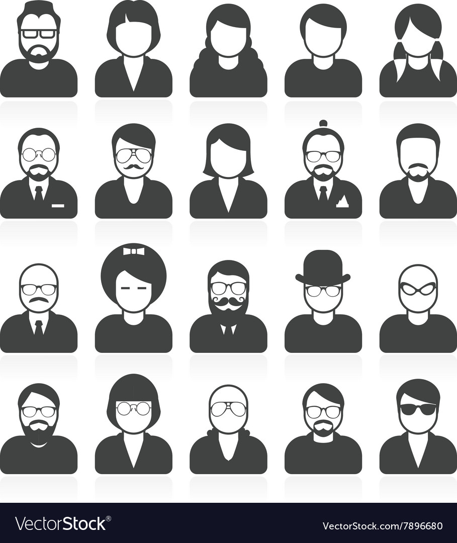 Simple people avatars and userpics vector