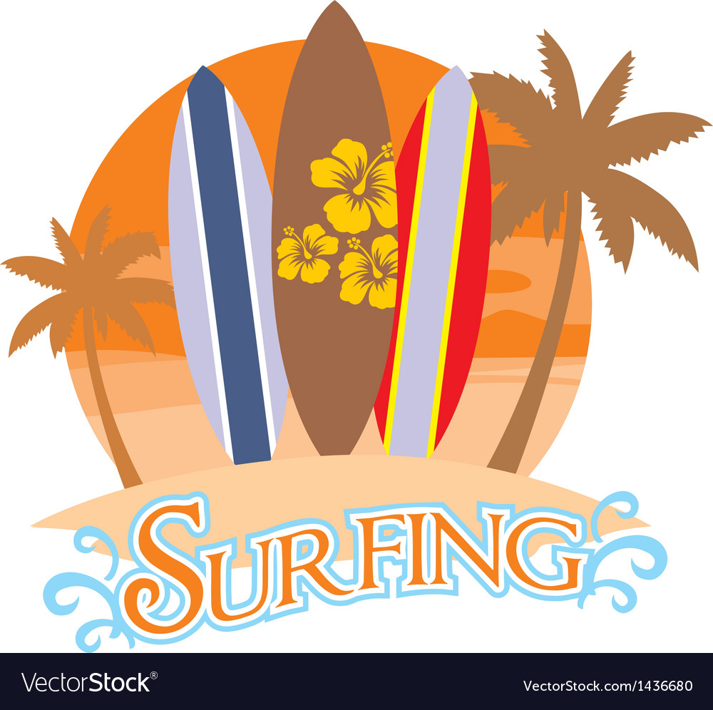 Three surf board on a beach vector