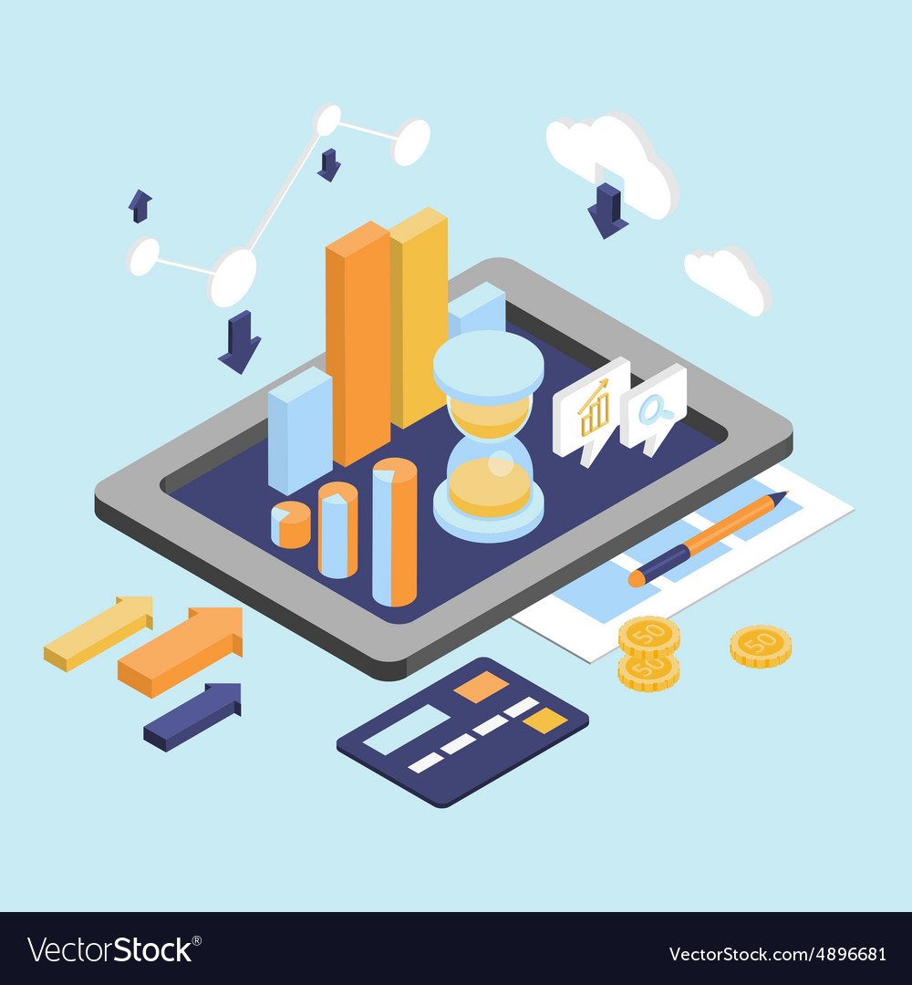 Flat 3d isometric business finance analytics vector