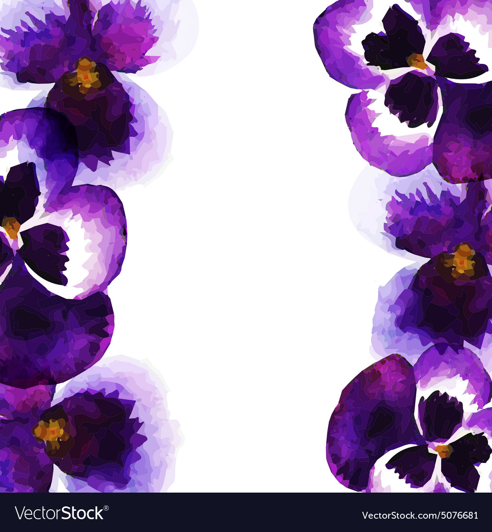 Vintage frame with watercolor pansies vector
