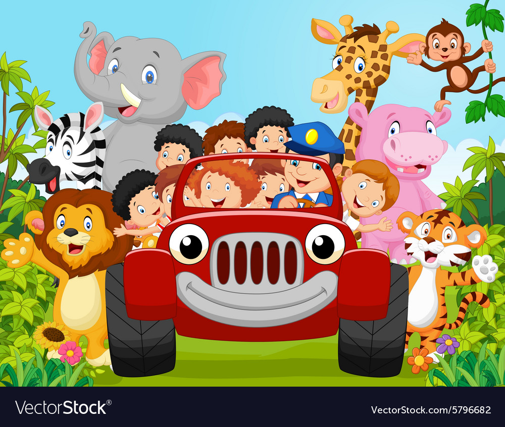 Cartoon little kid happy with animal vector