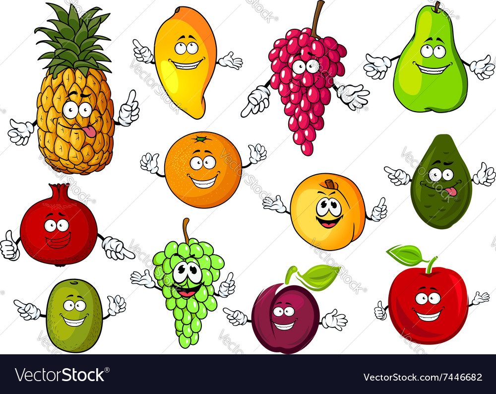 Happy cartoon fresh tropical fruits vector