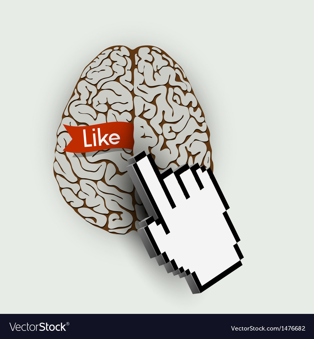 Human brain with link selection hand computer vector