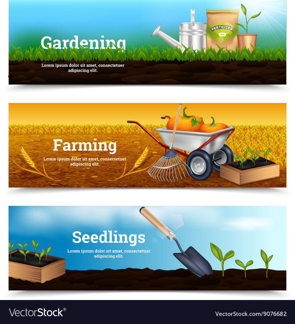 Three gardening horizontal banners vector
