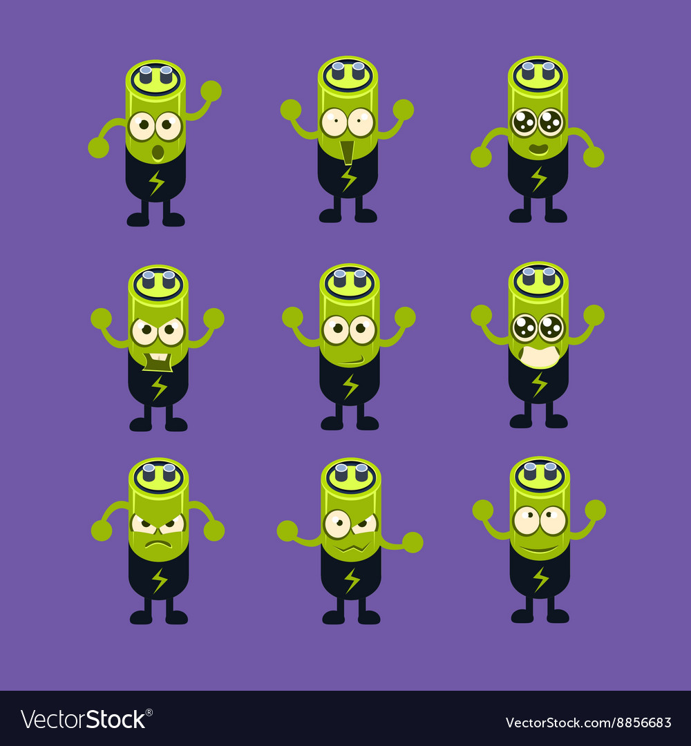 Battery emoji character set vector
