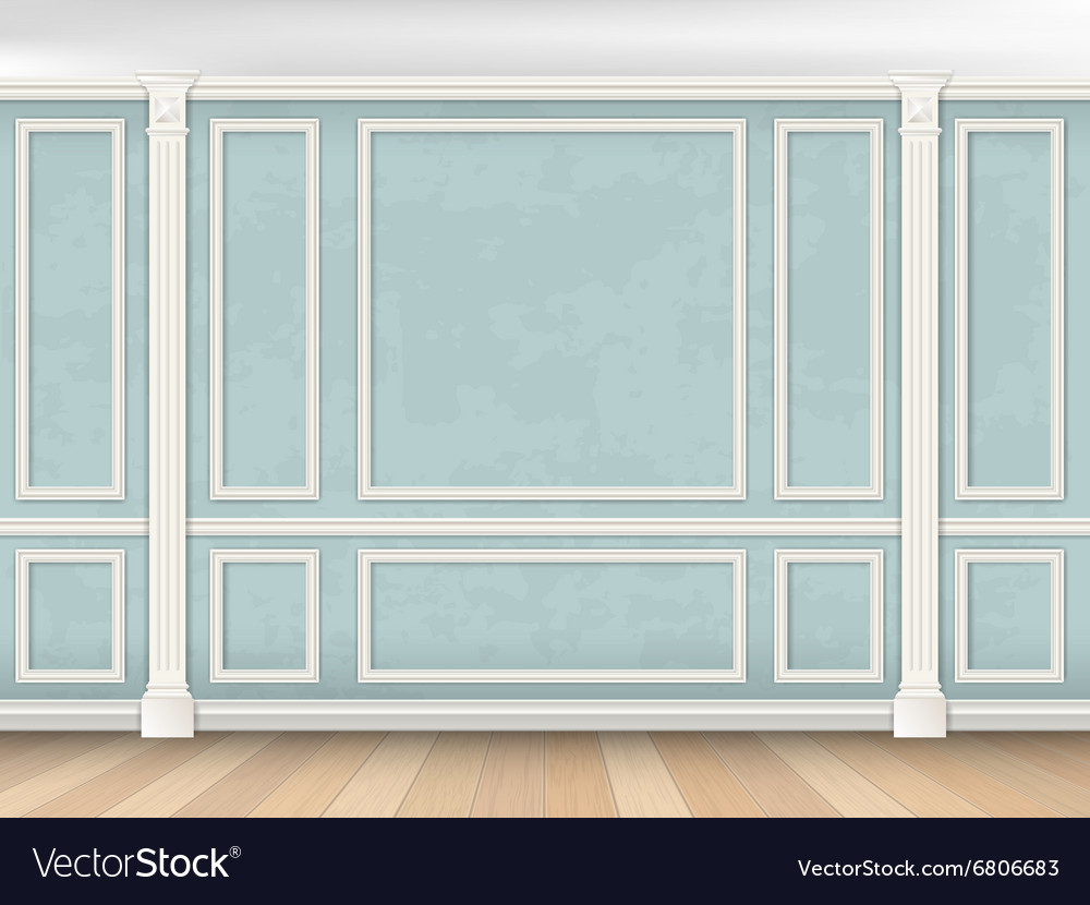 Blue wall with pilasters vector