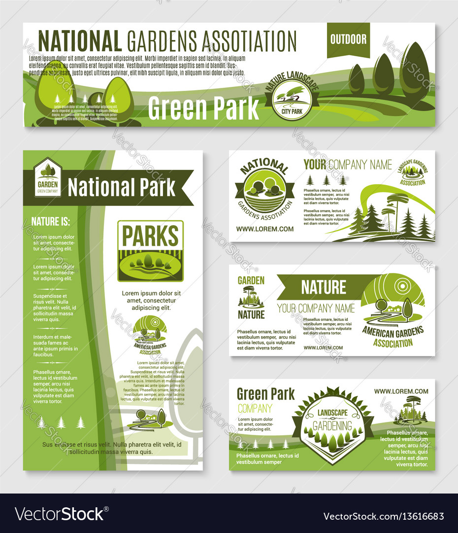 Gardening or green nature company templates vector