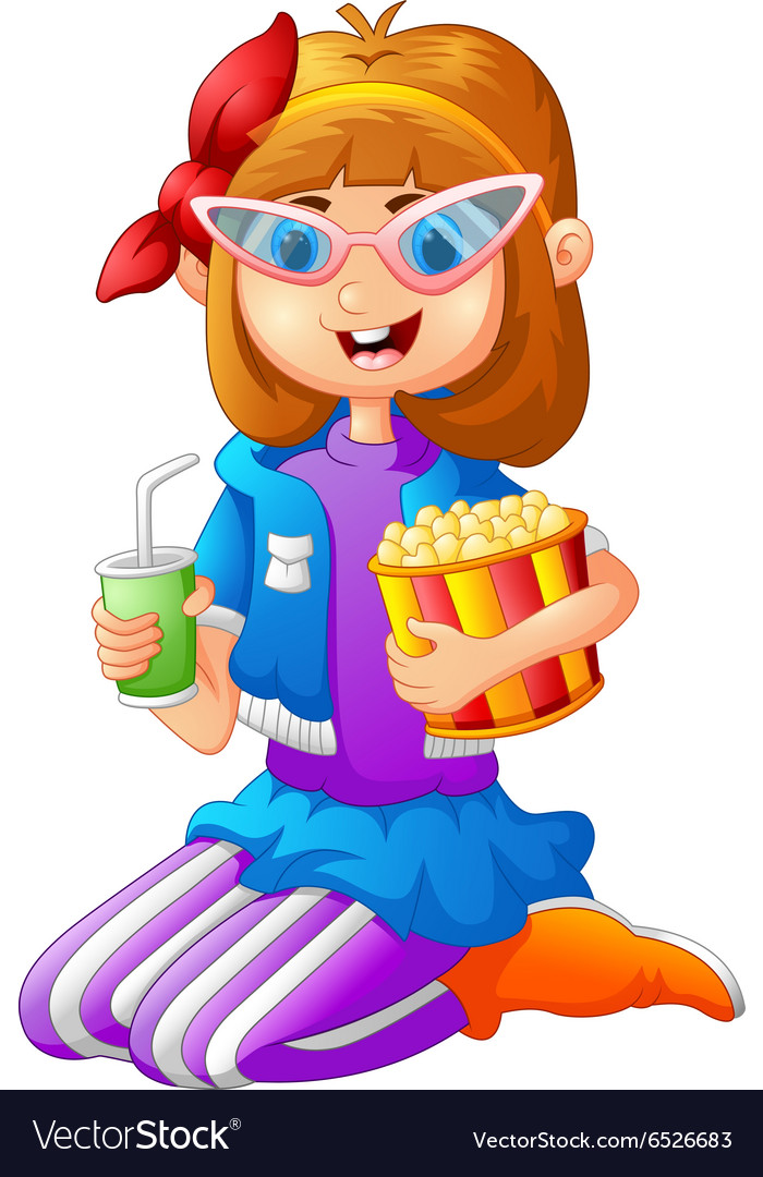 Girl having pop corn and cold drink vector
