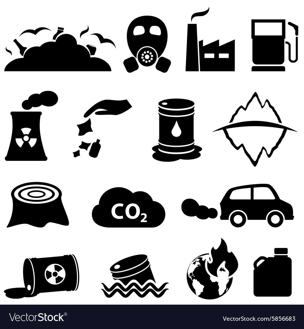 Pollution global warming and environment icons vector