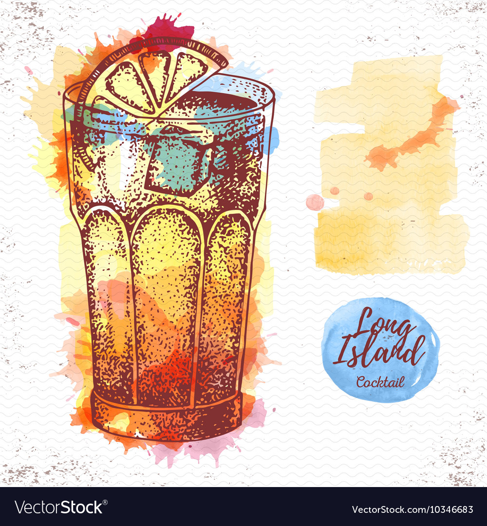 Watercolor cocktail long island ice tea sketch vector