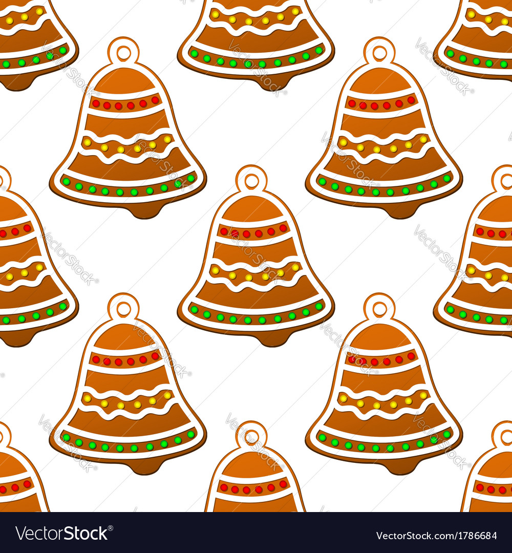 Christmas gingerbread bell seamless background vector