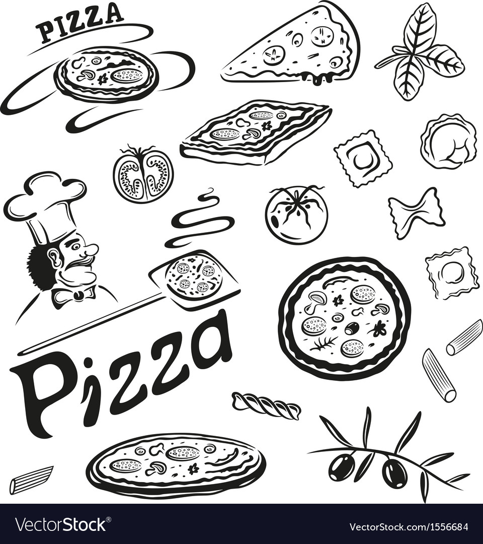 Pizza pasta vector