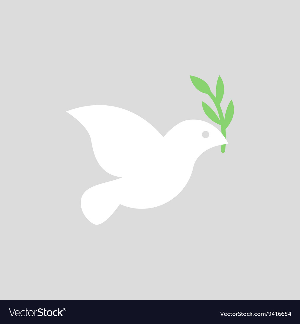 White dove icon on grey background vector