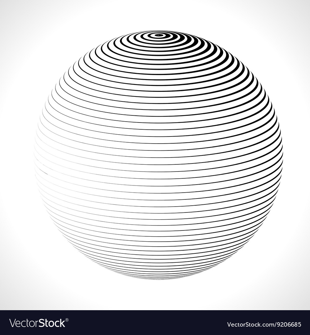 Abstract 3d sphere with stripes lines vector