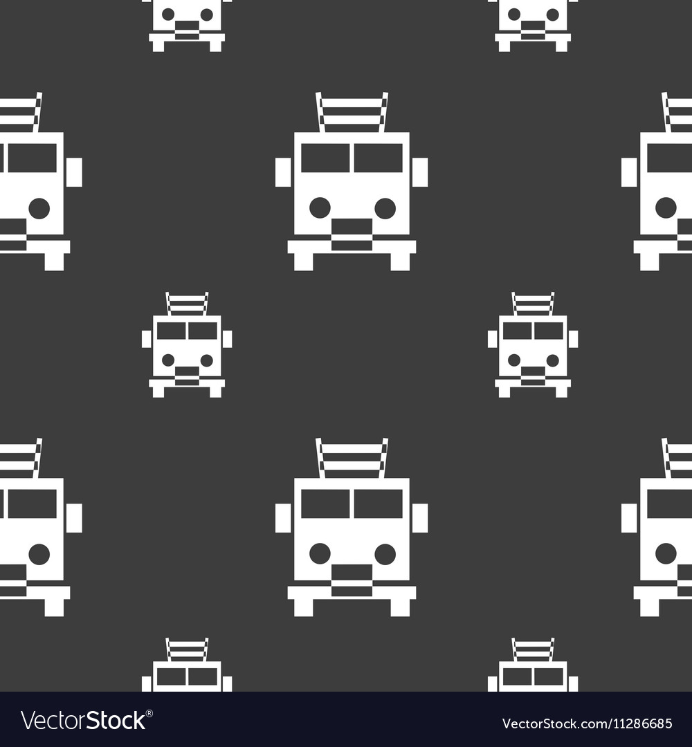 Fire engine icon sign seamless pattern on a gray vector
