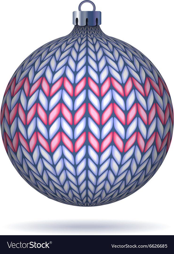 Light blue knitted christmas ball vector