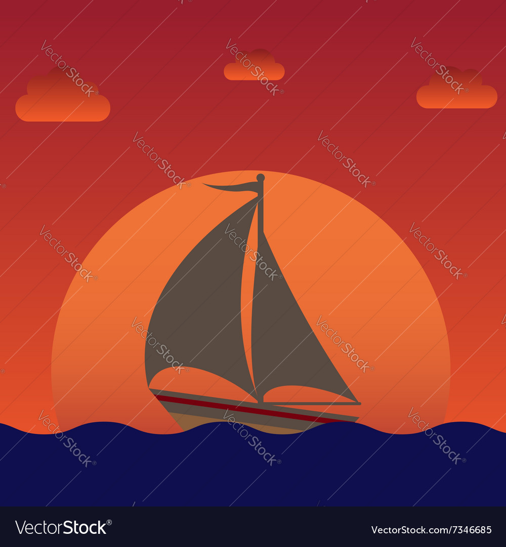 Sailboat silhouette over sunset vector