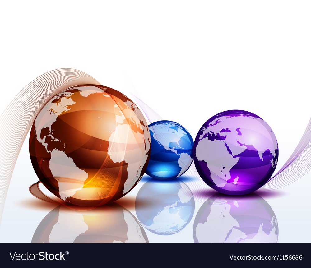 Graphic background with color globes vector