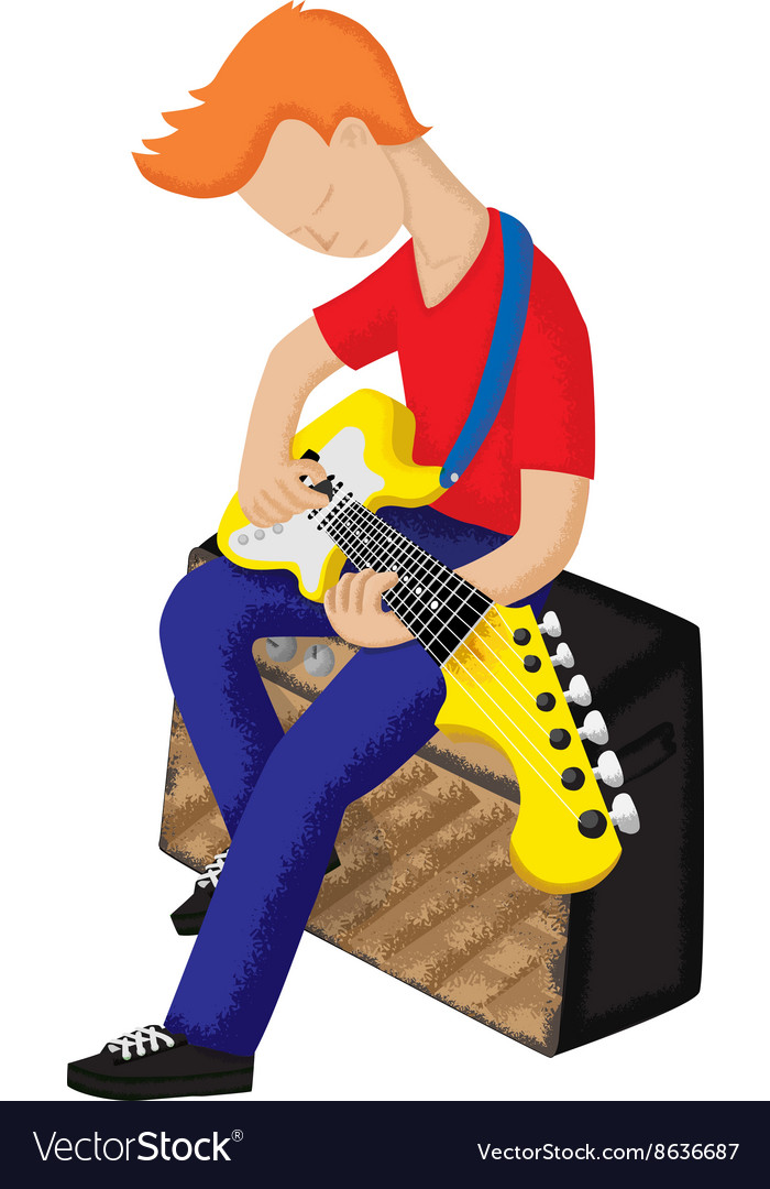 Boy playing electric guitar vector