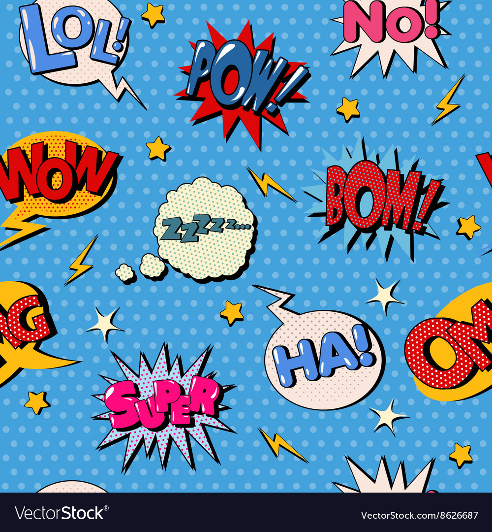 Comic bubble seamless pattern pop art background vector