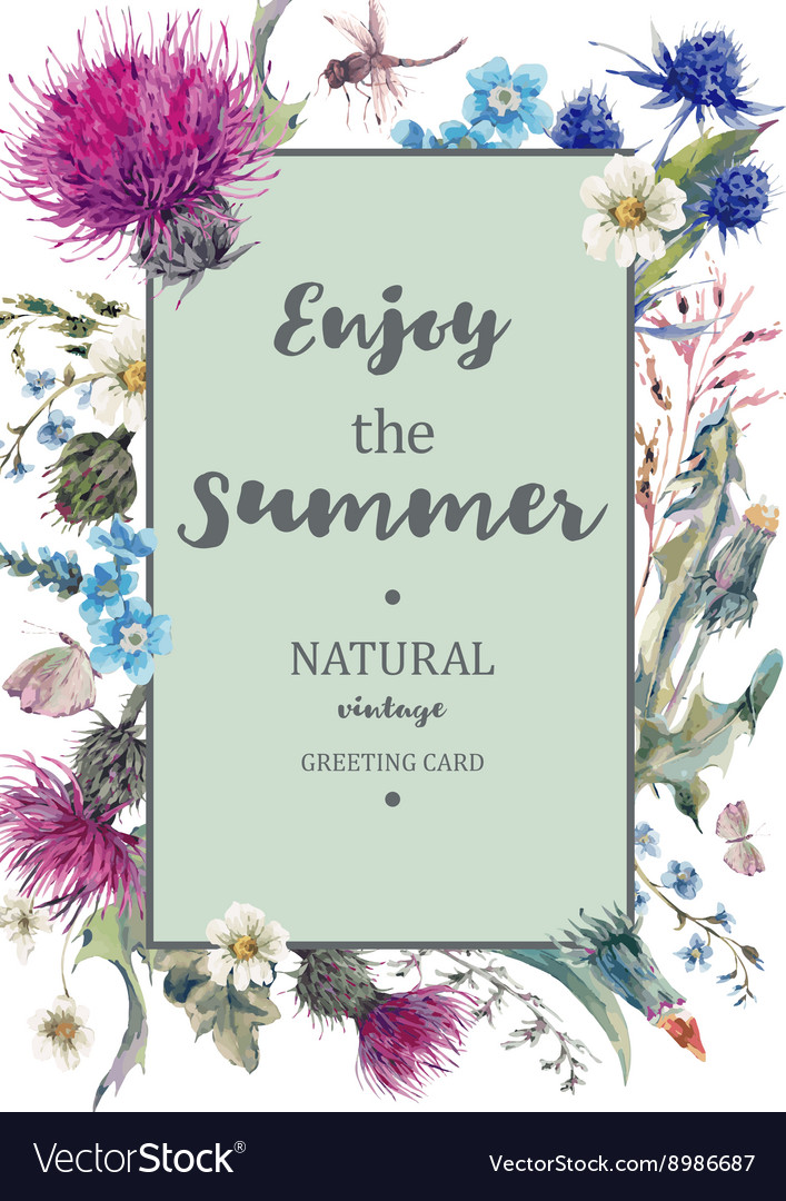 Vintage natural herbal vertical frame vector
