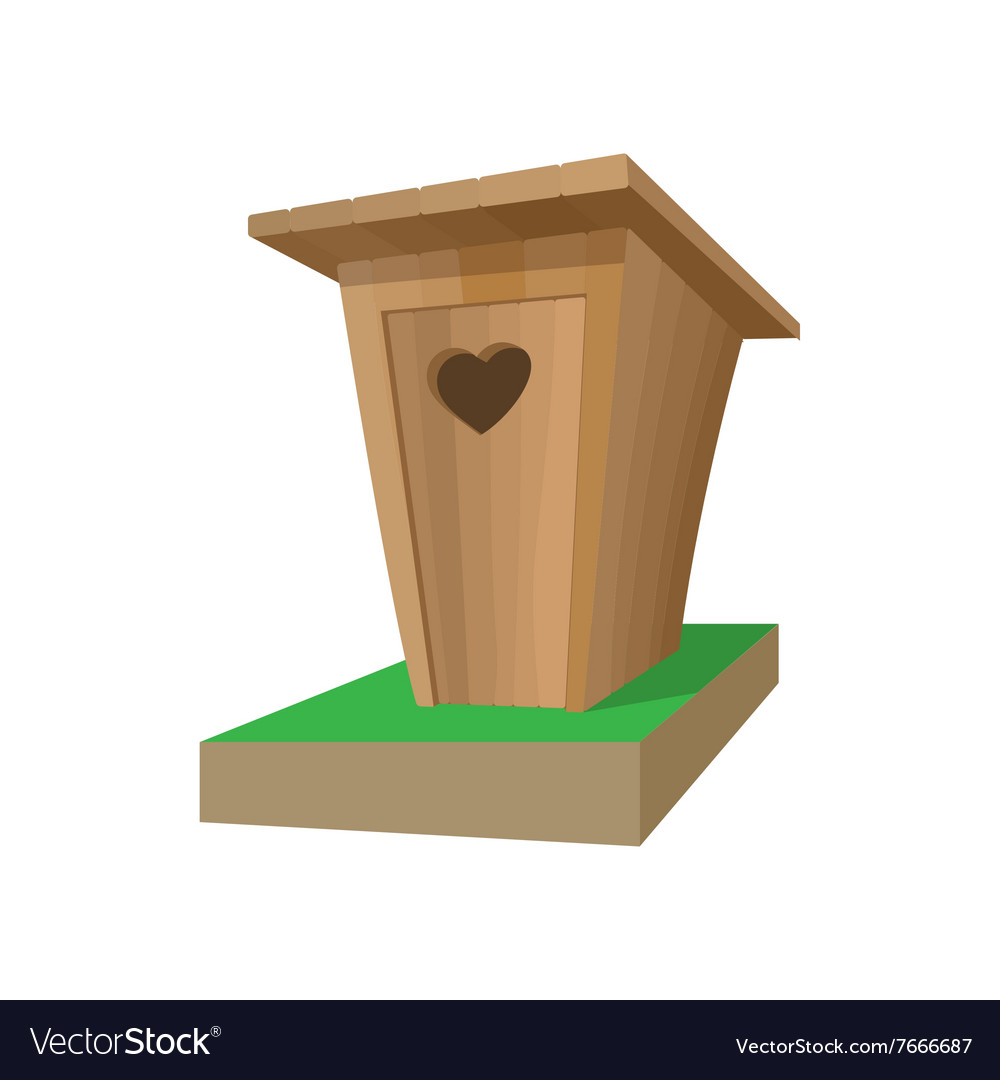 Wooden toilet cartoon icon vector