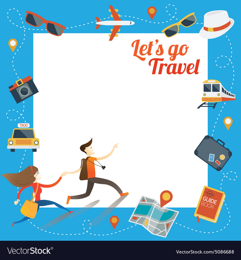 Couple run with travel objects icons frame vector