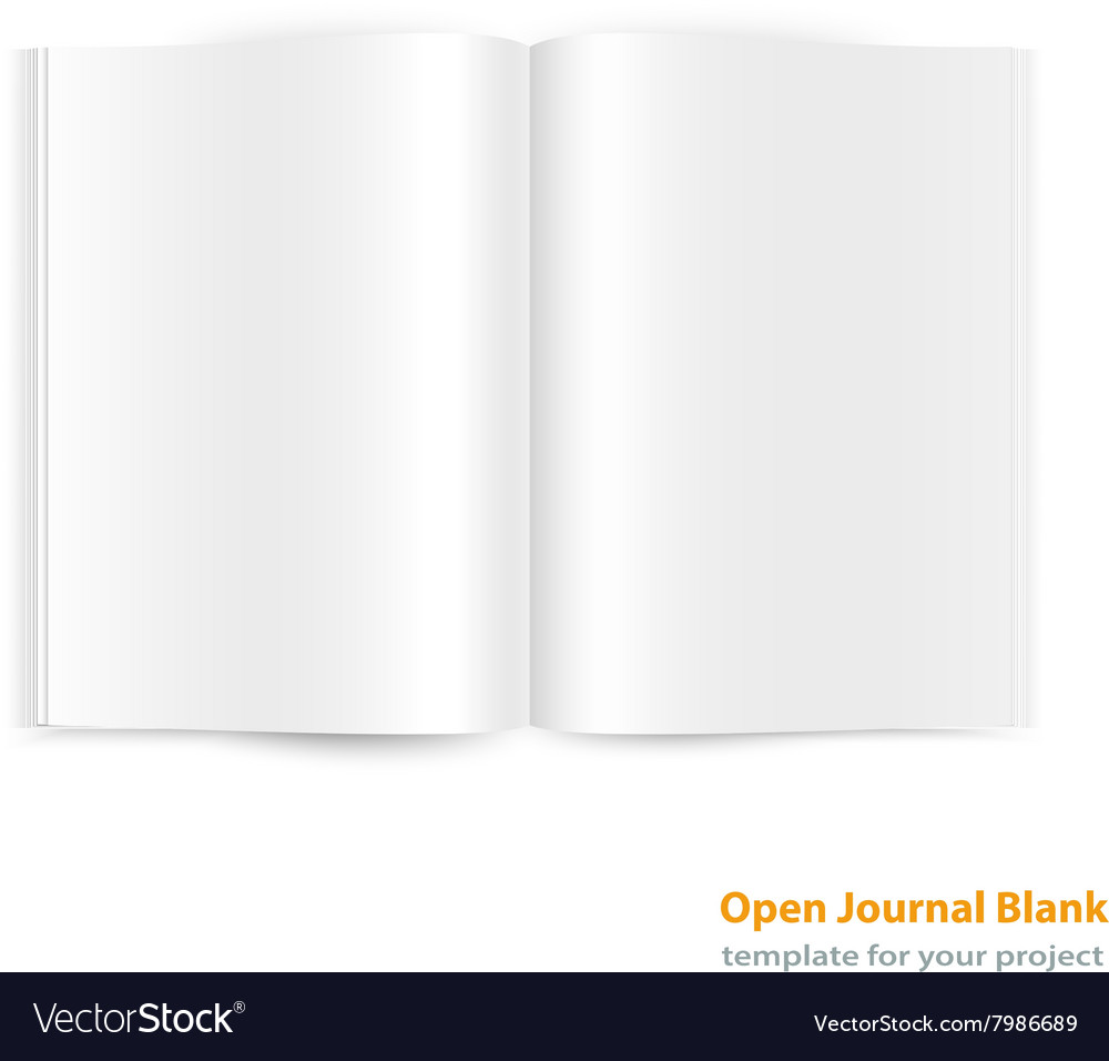 Open magazine doublepage spread with blank pages vector