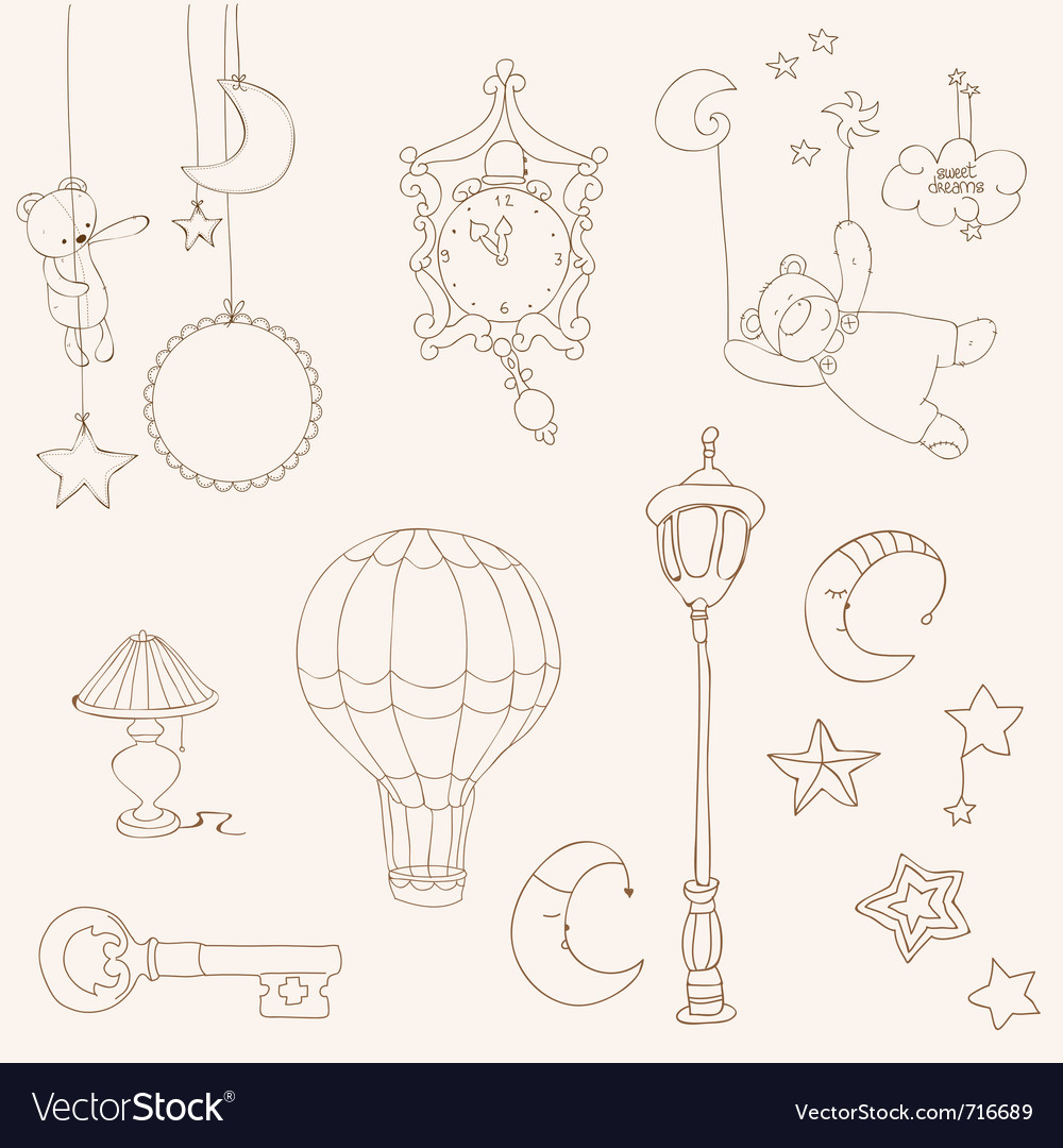Sweet dreams  design elements for baby scrapbook vector