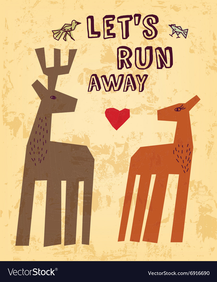 Wild animals love couple deer greeting card vector