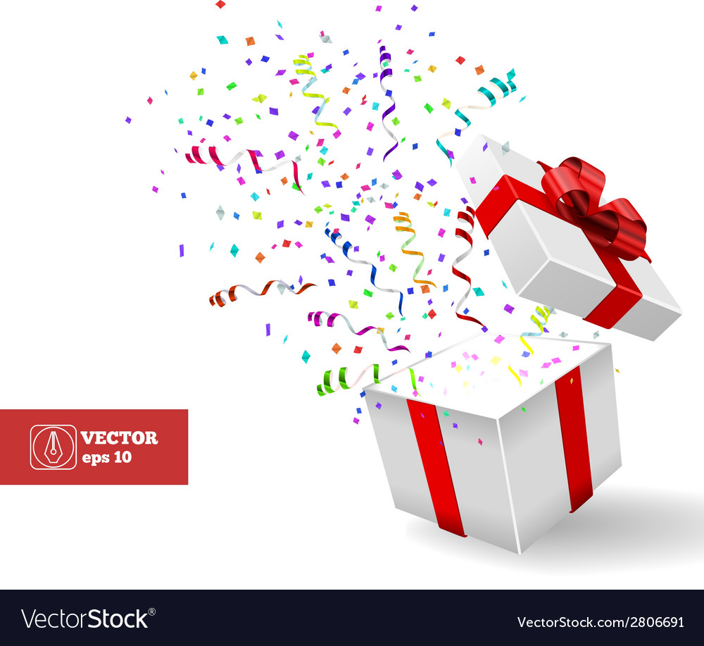 Open gift and confetti christmas vector