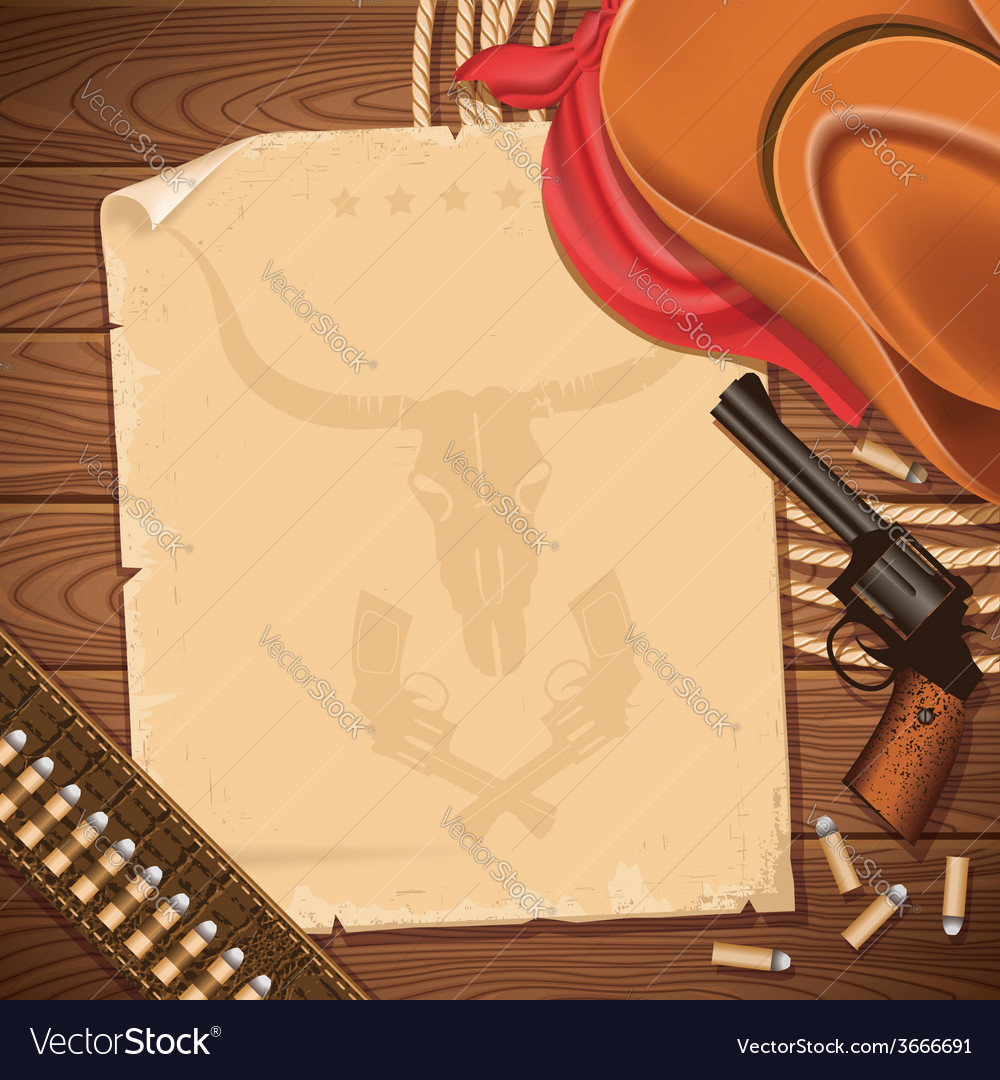Wild west background with cowboy hat and revolver vector