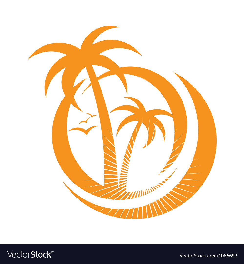 Palm tree emblems icon sign design element vector