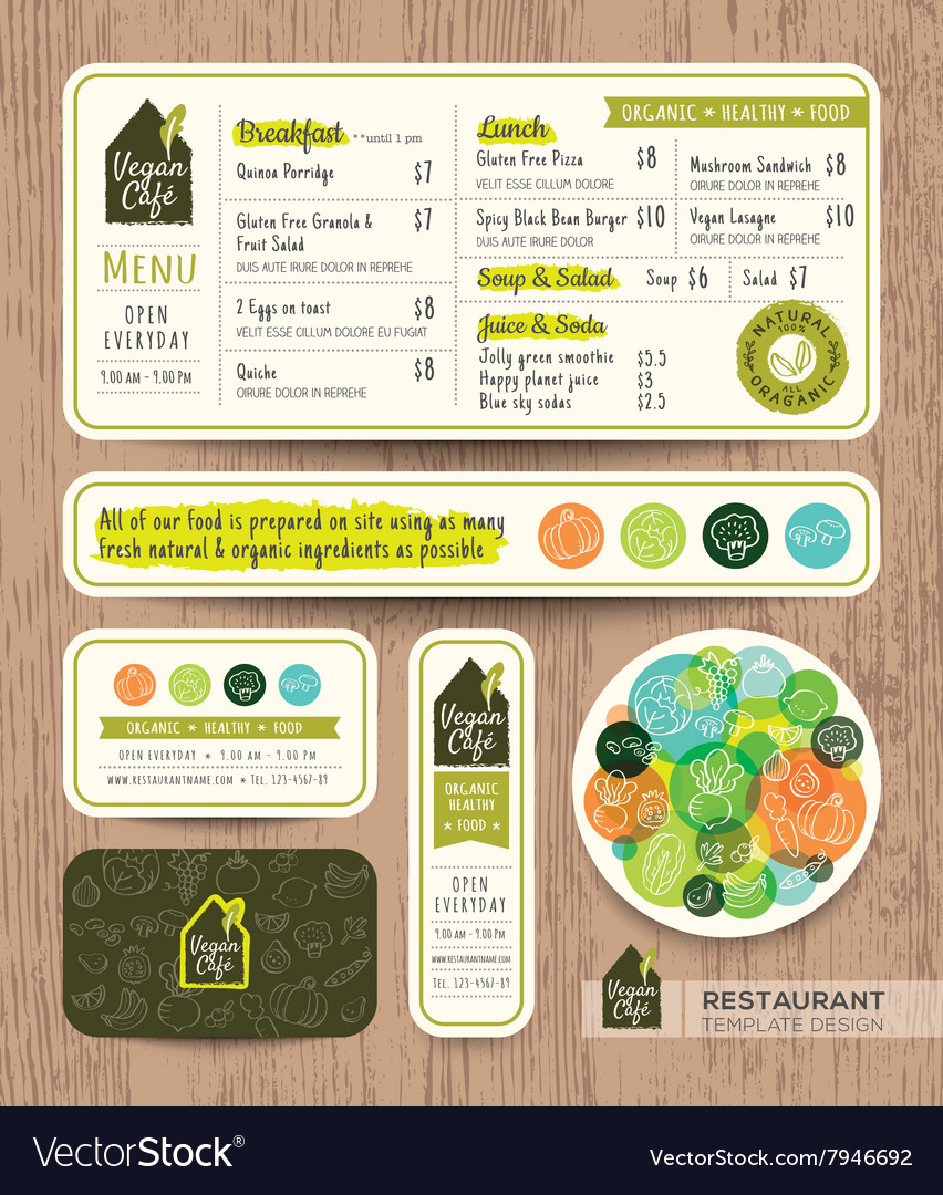 Vegan healthy restaurant cafe set menu template vector