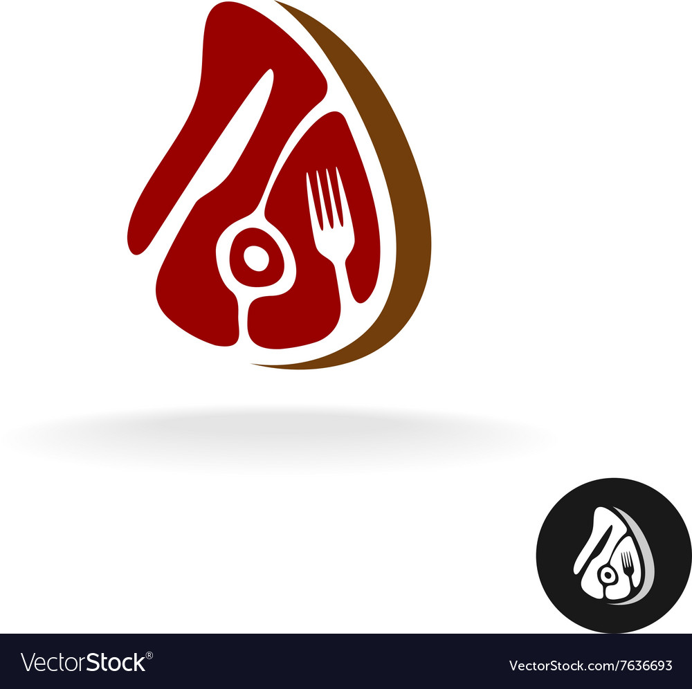 Meat piece with fork and knife logo restaurant vector
