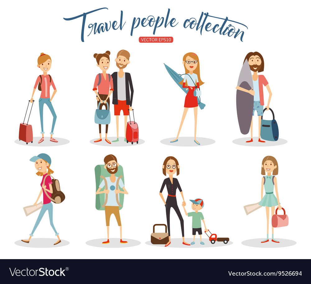 Travel people cartoon collection vacation people vector
