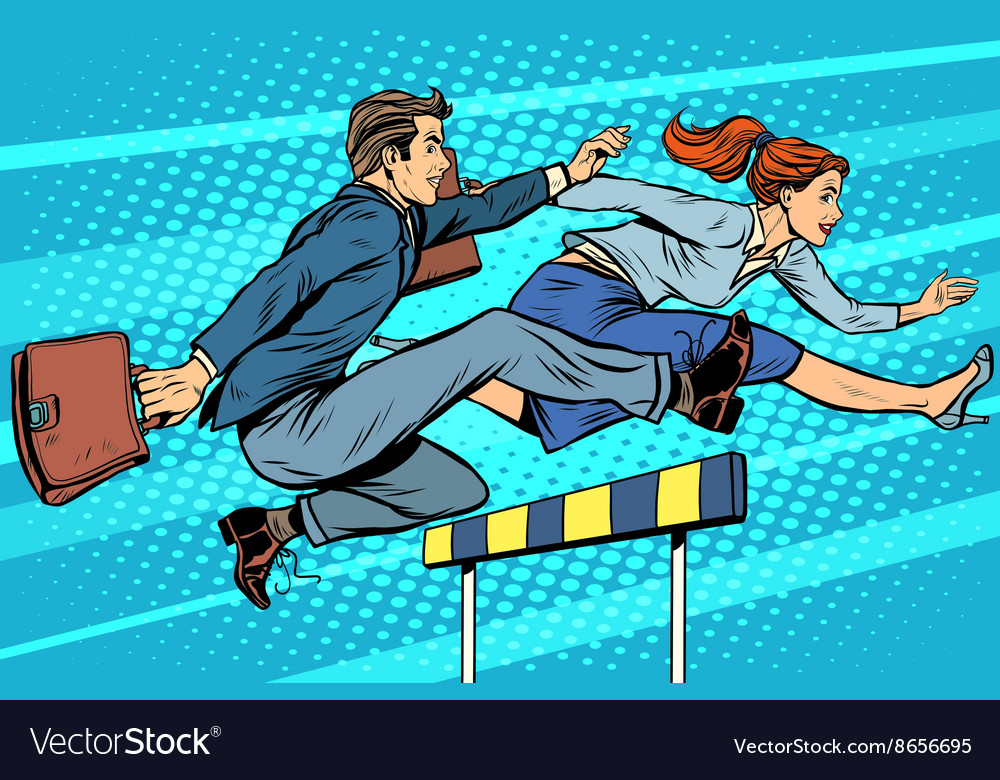 Business competition woman and man running vector