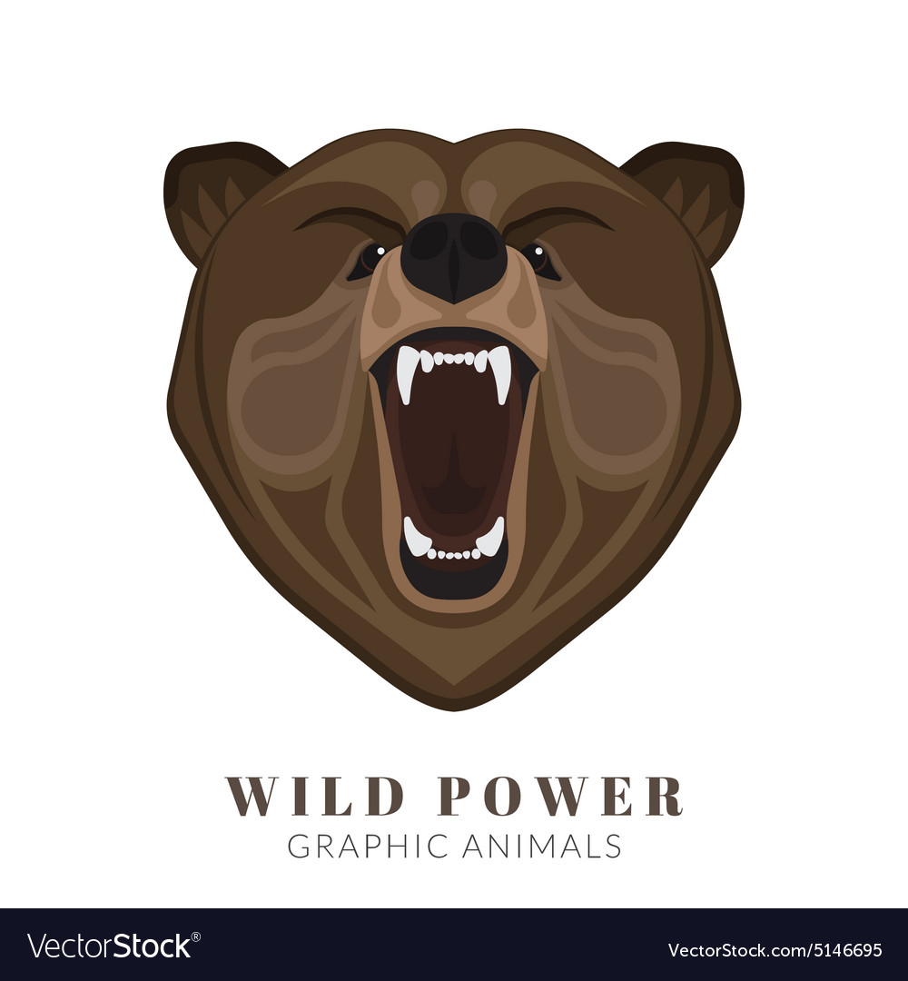 Screaming bear vector