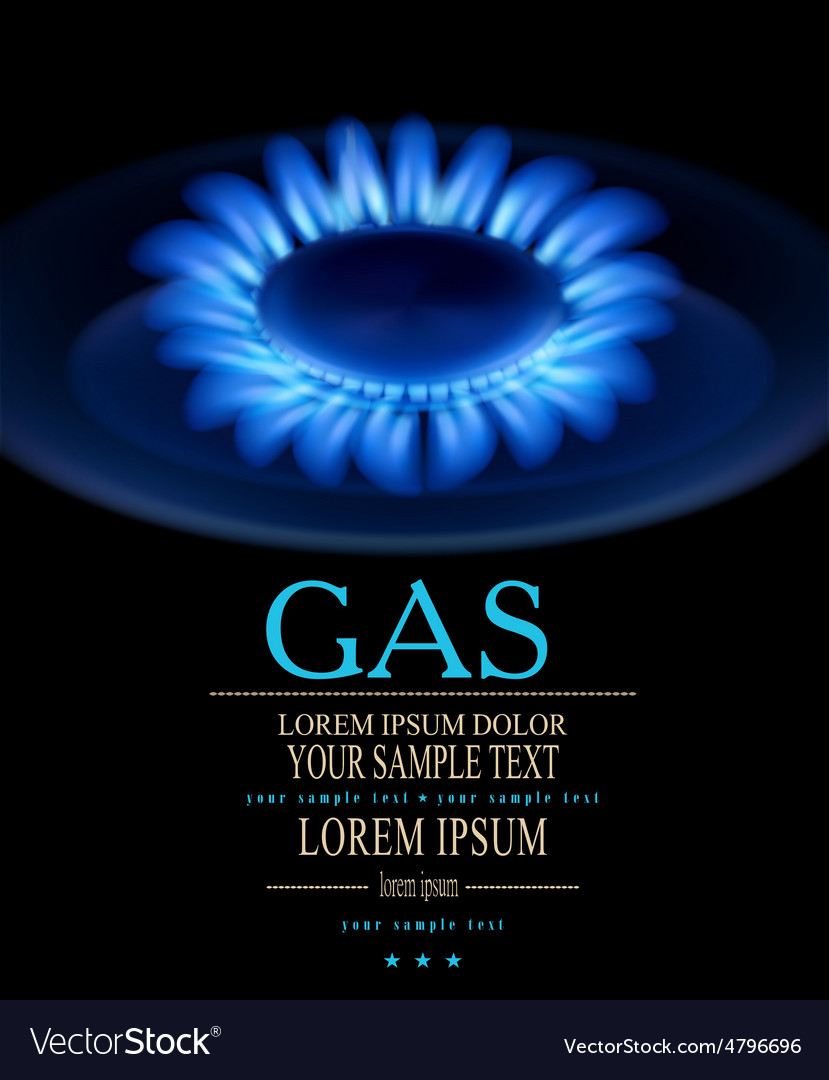 Background with blue burning gas gas stove vector